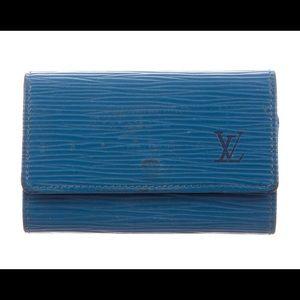 Electric blue epi leather LV key holder